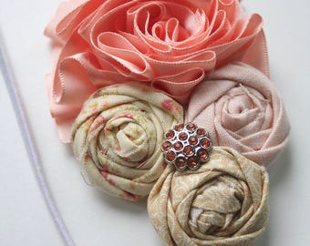 Couture Shabby Chic Satin Flower headband- Peach Blush Pink Taupe - (OOAK) - Photography prop