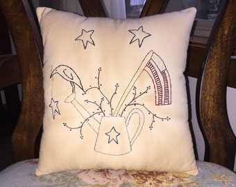 Primitive Country Patriotic America Flag Summer Stitchery Pillow July 4th Independence Day