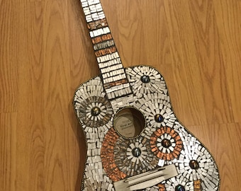 MOSAIC GUITAR- Silver, Bronze, Copper, Van Gogh Glass Youth Guitar