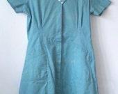 Vintage Waitress Uniform Dress • Classic Vintage Housekeeping Uniform • Vintage Shane Uniform Aqua