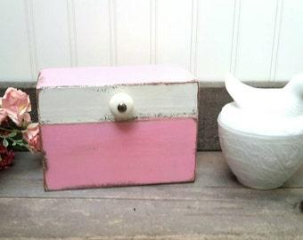 Recipe Box PINK AND WHITE Hand Painted Wood recipe box Farmhouse Kitchen Decor Recipe Storage Wedding Gift