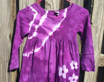 Purple Girls Dress, Girls Flower Dress, Long Sleeve Dress, Flower Girls Dress, Girls Tie Dye Dress, Batik Girls Dress (6)
