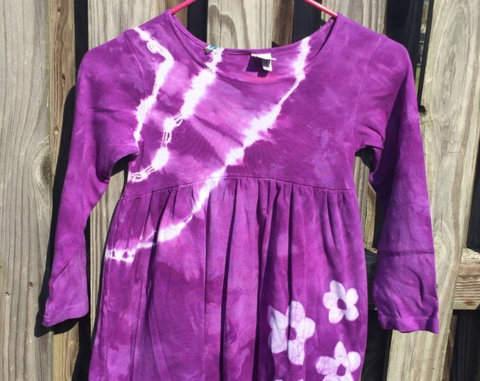 Purple Girls Dress, Girls Flower Dress, Long Sleeve Dress, Flower Girls Dress, Girls Tie Dye Dress, Batik Girls Dress (6)
