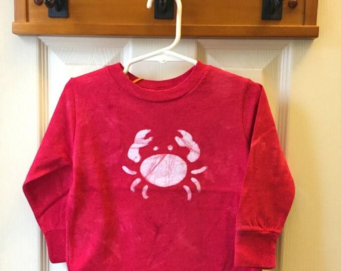 Kids Crab Shirt, Red Crab Shirt, Boys Crab Shirt, Girls Crab Shirt, Maryland Crab Shirt, Ocean Creature Shirt, Batik Crab Shirt (2T)