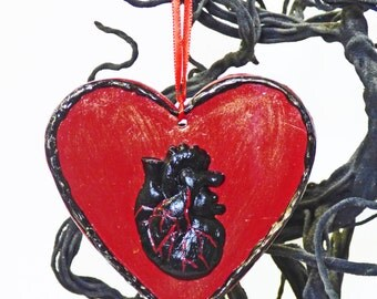 Gothic Heart Wall Art - Black Anatomical Heart - Clay Heart - Creepy Heart Ornament - Goth Love