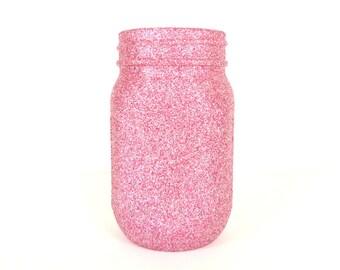 Pink and Silver Blend Glittered Pint Mason Jar, Flower Vase, Wedding Decoration, Makeup Brush Holder, Pen and Pencil Holder