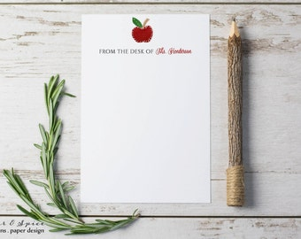 Personalized Teacher Notepad   Personalized Teacher Note Pads   Teacher Gifts   Personalized Stationary   Back To School Gifts