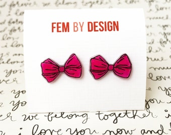 Hot Pink Bow Earrings, Pink and Black Bow Earrings, Black and Pink Bow Jewelry Pin Up Jewelry, Handmade Bow Earrings, Shrink Plastic Jewelry