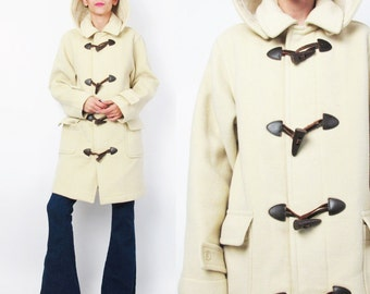 Vintage Wool Duffle Coat Beige Cream Wool Winter Coat Toggle Buttons Hooded Coat Plaid Lining 90s Preppy Warm Womens Outerwear Parka E211