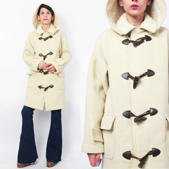 Vintage Wool Duffle Coat Beige Cream Wool Winter Coat Toggle