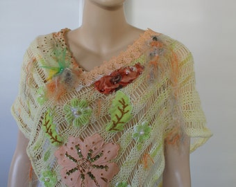 Unique Bohemian Shabby Chic Pastel Hand Knit Lace Shawl Poncho Capelet, Wedding Shrug Cape, Hand Dyed,  Old Embroidery - Wearable Art - OOAK