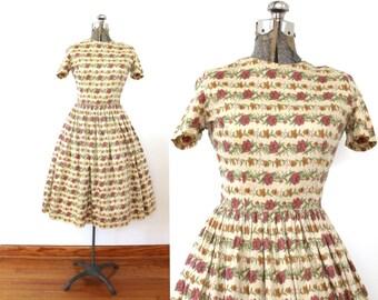 50s Floral Dress / 1950s 1960s Dress / 50s Floral Striped Cotton Dress