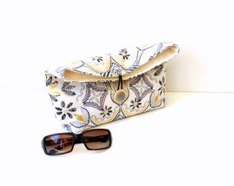Handbag foldover clutch purse, black grey yellow, button closure, everyday bag, teen bag, women's bag, fold over purse, cosmetic bag