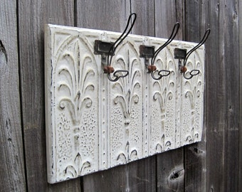 Large Coat Towel Bathroom Rack. Kitchen Hooks. Antique Tin Ceiling Tile,  Architectural salvage. Key rack.