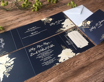 Navy Blue & Gold Tri-Fold All-In-One Wedding Invitations - Gorgeous Navy Blue Wedding Invitations Suite  (208)