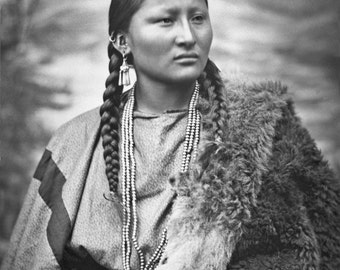 Cheyenne Woman Native American Portrait From 1879 Vintage Old West Western Indian Sepia Black & White Photograph Photo Print