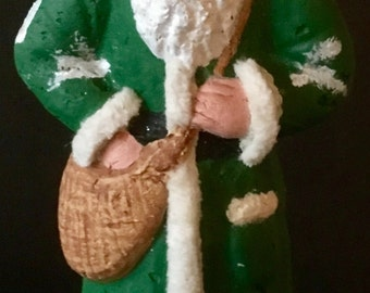 "Vintage Look 9"" Santa Belsnickle-Paper Mache, Painted,Wired Chenille, Mica, Glitter"