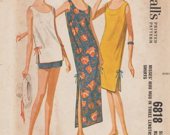 McCalls 6818 / Vintage Sewing Pattern / Dress Tunic Shorts / Size 16 Bust 36