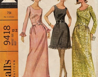 McCalls 9418 / Vintage 60s Sewing Pattern / Evening Dress / Gown / Size 12 Bust 34