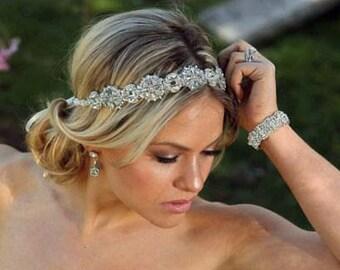 Ready to ship Ada Wedding bridal headpiece crystal headband headpiece satin ribbon vintage inspired art deco style