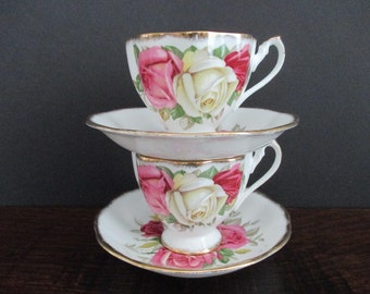 2 Cups and Saucers Lady Sylvia by Queen Anne Big Pink Yellow Roses