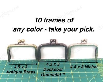 10 frames of 4.5x3 wallet frames - purse frame color of your choice in Antique Brass, Duskcoat Gunmetal™ and Nickel