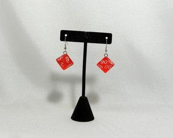 Simple red percentile dice earrings