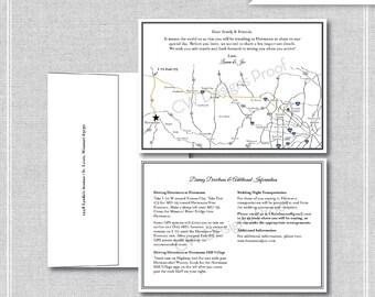 Custom Black and White Wedding Map, Wedding Map Invitation, Desitnation Wedding -- Missouri (5x7)