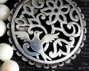 BIRD IN FLIGHT Assemblage Necklace. Genuine Angel Skin Coral Beaded Chain. Repurposed Silver Plate Vintage Brighton Bird & Flower Pendant