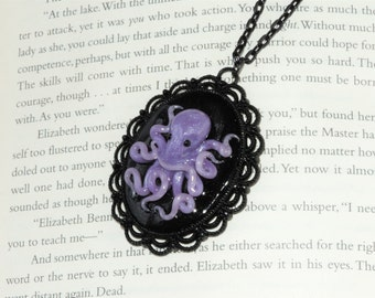 Purple octopus cameo pendant necklace.