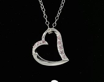 Sterling Silver Heart Charm with Pink Swarovski Crystals on your choice of .925 chain length