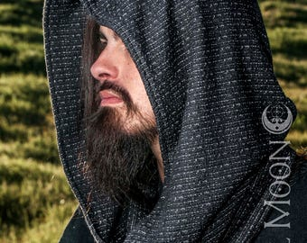 NEW The Cowl Hood Set in Assorted Knits (Black, Silver, Gray) with Matching Cuffs by Opal Moon Designs (Unisex/ Men's/ One Size)