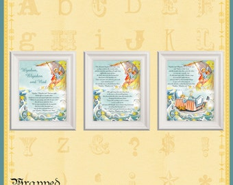 Wynken, Blynken & Nod Nursery Decor / Set of 3 Prints / Baby's Room Baby Shower / Poem Vintage Illustration / Three Sailor Boys Wooden Shoe