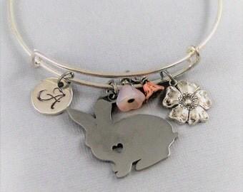 Sweet Bunny,Rabbit Bracelet,Bunny Bracelet,Rabbit Bangle,Bunny Bangle,Bangle Bracelet,Bracelet,Easter Bracelet,Easter Jewelry,Personalize