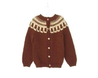 Vintage Child's Sweater * Wool Cardigan Sweater * Kids Kitty Yoke Sweater * child size 5 6