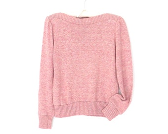 Bateau Neck Sweater * Vintage 80s Pullover * Pink Knit Top * Medium
