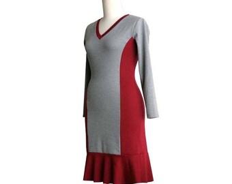 SALE Long sleeve jersey dress, Ready to ship, Ruffle V neck dress, Day dress, Winter dress, Grey dress, Burgundy dress, Dress size L large