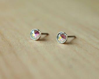 Swarovski Xirius Aurora Borealis Crystal (4mm / 5mm) Bezel Set Niobium / Titanium Posts (Hypoallergenic & Nickel Free for Sensitive Ears)