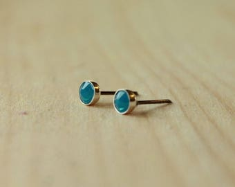 4mm Swarovski Caribbean Blue Opal Crystal Bezel Set on Niobium or Titanium Posts (Hypoallergenic Stud Earrings for Sensitive Ears)
