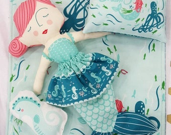 Mermaid Cut and Sew Doll Panel- Coral Queen Of the Sea Panel by Stacy Iset Hsu for Moda Fabrics