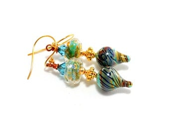 Magical Lampwork Bead Earrings. Artisan Turquoise Raku Gold Earrings. Medium Dangle Earrings. Colorful Boho Earrings. Glass Bead Jewelry.