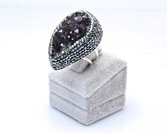 Druzy Chrysoprase  Gemstone Swarovski Crystal  Rings Sterling Silver  Adjustable Sparkly Dark Purple Drusy