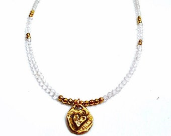 Gemstone Choker in White Topaz and Gold Pyrite with Hammered Brass Heart Pendant