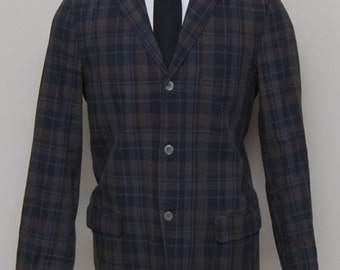 1950s men's multicolor plaid cotton summer blazer/ 50s men's plaid cotton blazer/ Custom