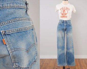 Vintage 70s orange tab LEVIS jeans / Perfectly faded and worn in / Classic 5 pocket boot cut jeans / 28 waist x 31 inseam