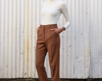 Vintage Max Mara 1990's Minimalist Cocoa Brown Tapered High Waisted Wool Trousers Pants S/M 29