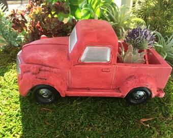 Mini Red Truck, Old Fashioned Pickup, Fairy Garden Accessory, Miniature Gardening, Home & Garden Decor, Topper, Planter