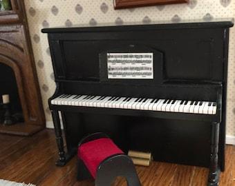 Miniature Piano, Black Wood Upright Piano With Stool, Dollhouse Miniature Furniture, 1:12 Scale, Mini Piano, Miniature Stool, Music
