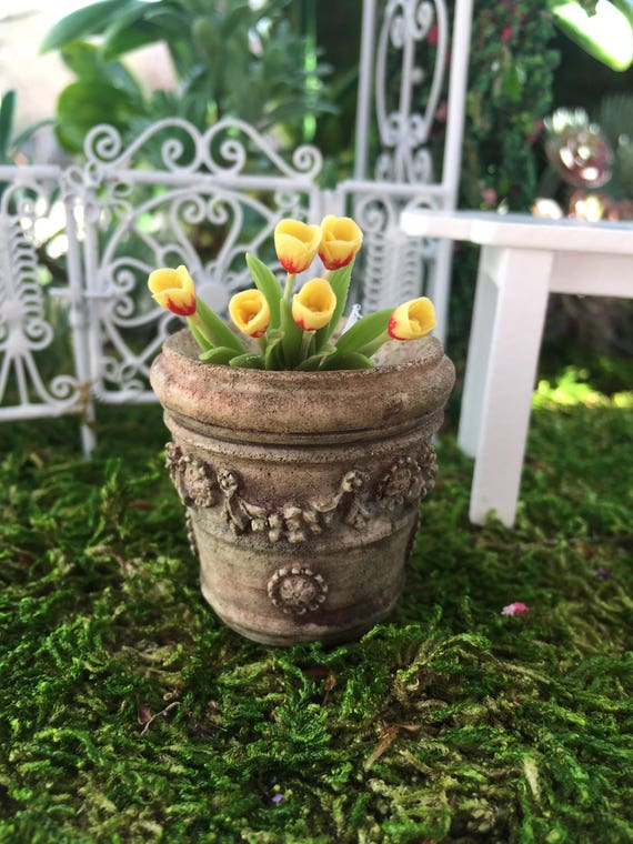 SALE Miniature Flower Planter, Aged Look Planter, Style 4009, Dollhouse Miniature, 1:12 Scale, Flower Pot, Miniature Garden Accessory