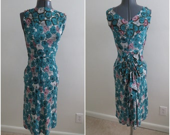 Vintage 1940s Teal & Pink Floral Sequin Rayon Dress - Womens XXS Bust 30 - Fitted with Back Gathers into a Bustle